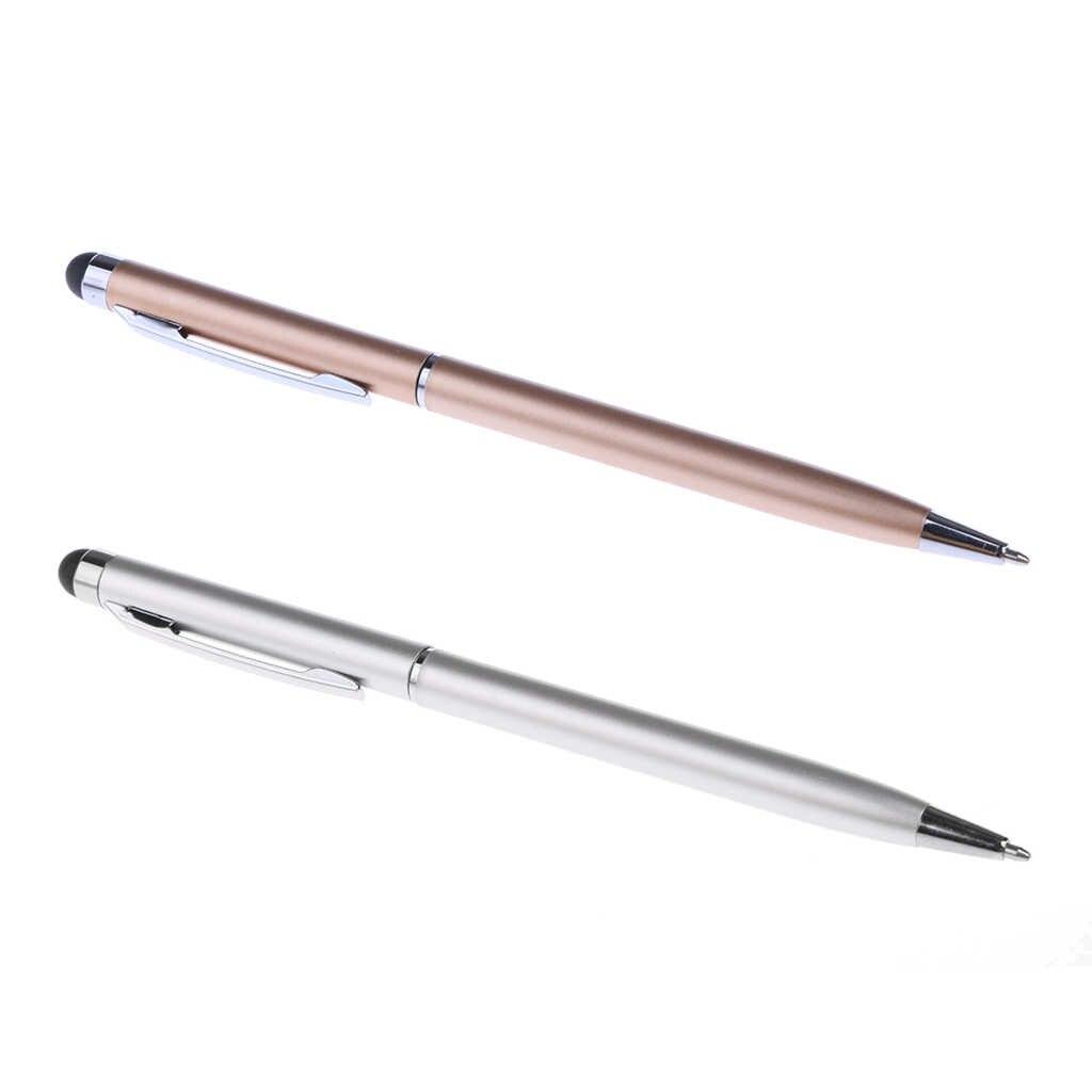 Pak Van 2 Metalen 2 In 1 Capacitieve Touchscreen Stylus Balpen Voor Pc Pad Tablet