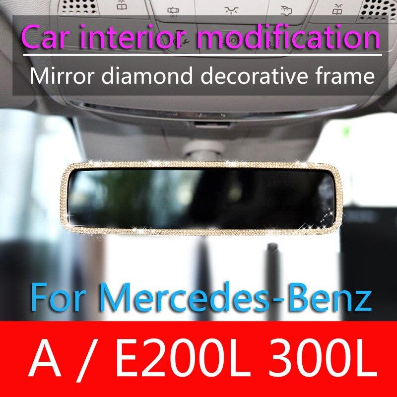 Установка для Mercedes-Benz A E200L E300L, модификация салона автомобиля, украшение для зеркала заднего вида, Алмазное украшение, логотип высокого клас...