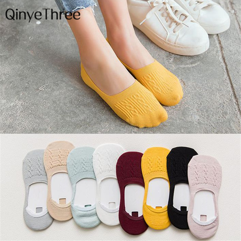1Pair Candy Color Invisible Non-slip Low Cut Socks Fashion Women Casual Cotton Breathable Ankle Boat Socks Drop Ship