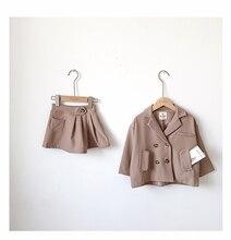 Bahar sonbahar çocuk bebek kız giysileri uzun kollu ceket + etek resmi takım elbise takım elbise öğrenci kızların giyim setleri