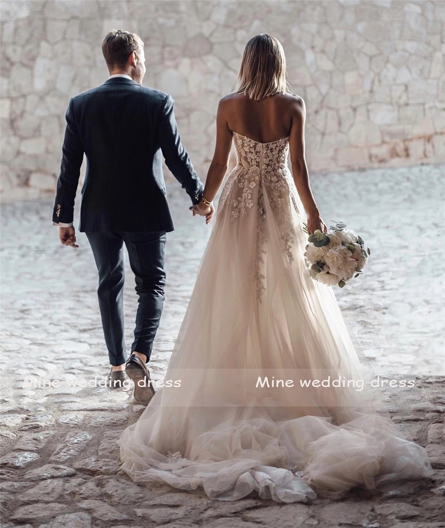 Sheer Lace  Applique Wedding Dresses Strapless 5