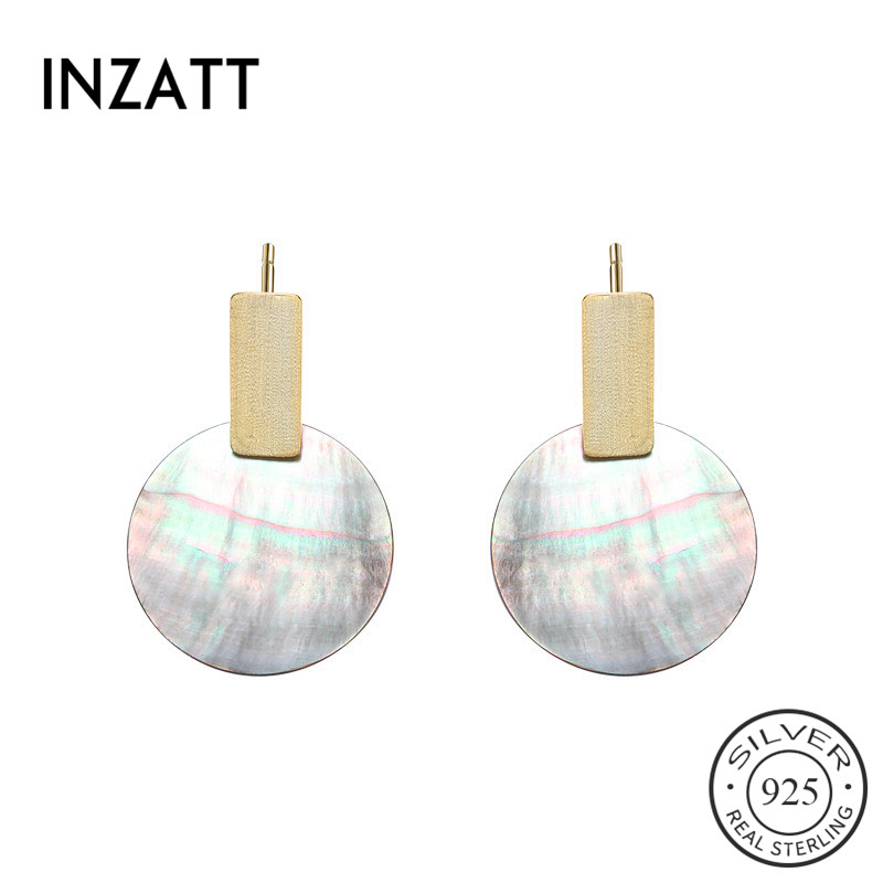 INZATT Real 925 Sterling Silver Natural Shell Drop Earrings For Fashion Women Party Trendy Fine Jewelry 2019 Punk Accessories