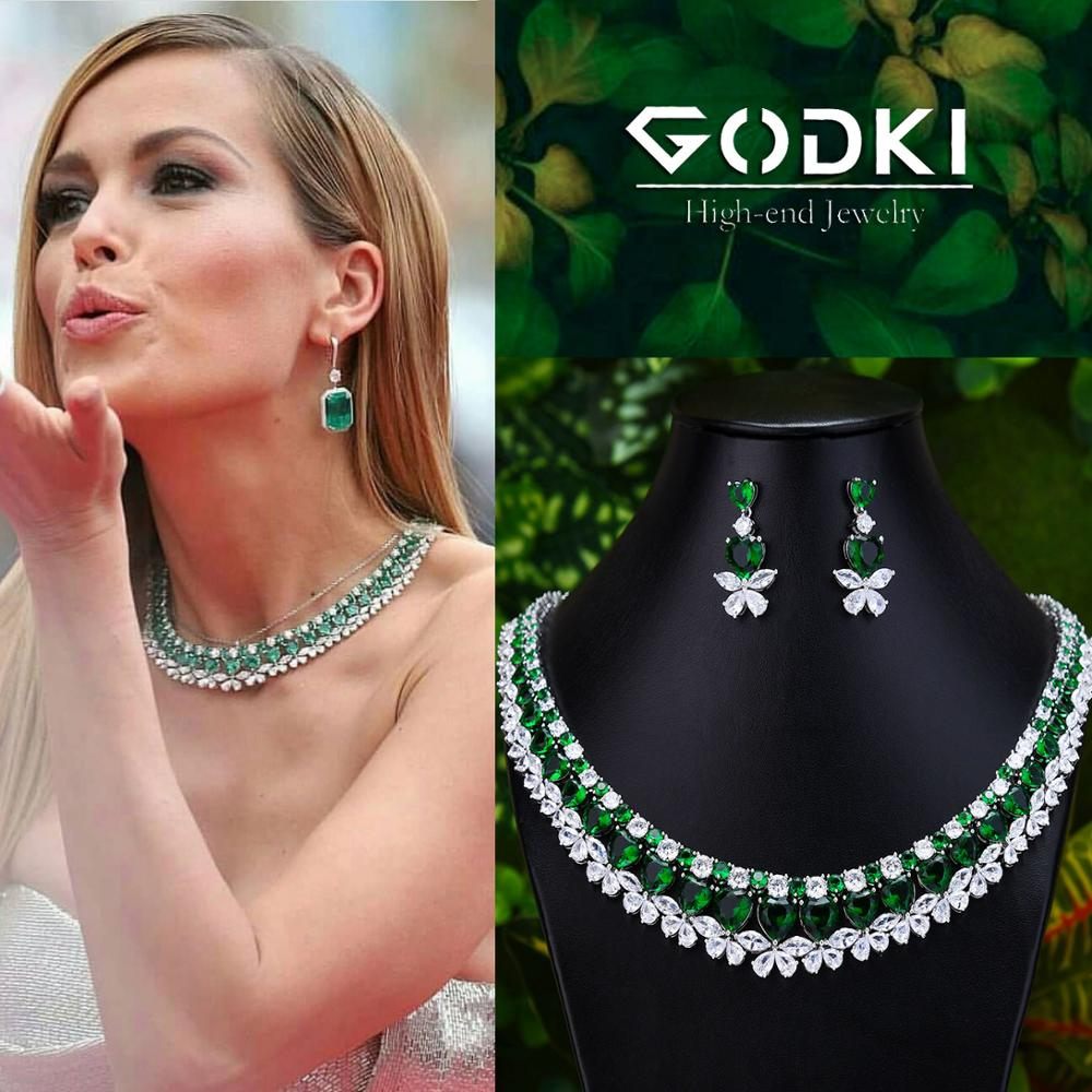 GODKI Famous Brand 2019 Hearts Charms Wedding Jewelry Sets Making Jewelry Sets For Women Statement Necklace Earrings Accessories