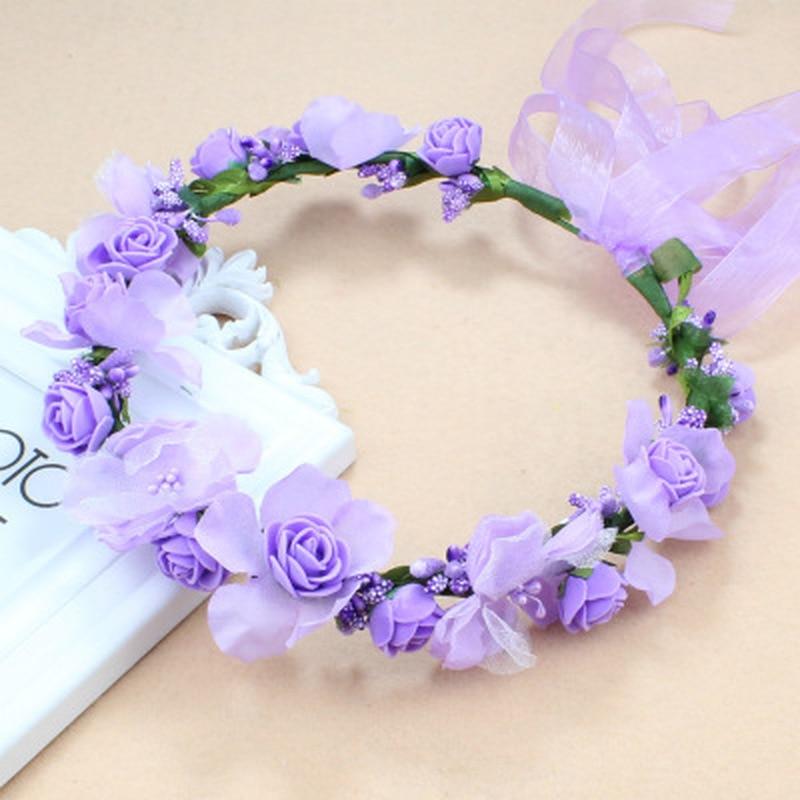 Bride Headwear Flower Crown HairBand Wedding Floral Headband Garland Girl Flower Wreath Elastic Hair Accessories Party Headpiece