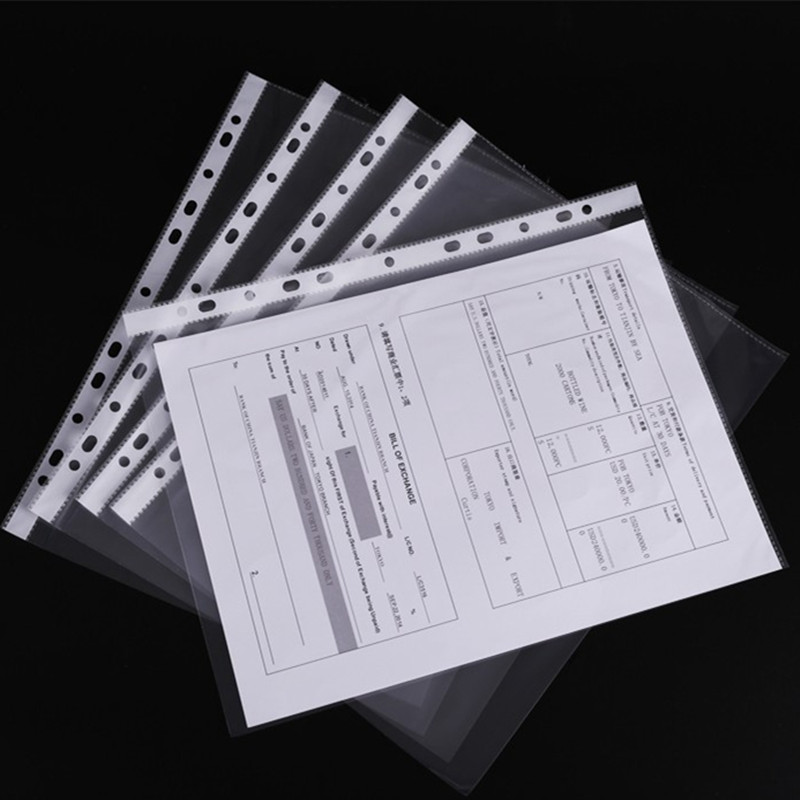 10PCS Thickened 11-hole Inner Page Transparent A4 Loose-leaf File Bag 4C File Protection Bag Office Supplies Wholesale