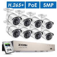 ZOSI H.265 8CH 5MP POE Kit de sistema de cámara de seguridad 8 piezas 5MP Super HD IP Cámara al aire libre impermeable CCTV Video vigilancia NVR conjunto