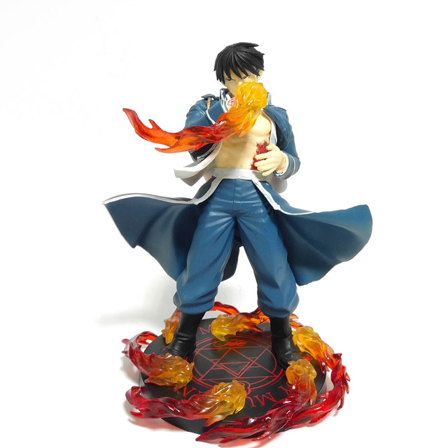 Fullmetal Alchemist Roy Mustang PVC Action Figure Fire Scene Model Toy Anime Fullmetal Alchemist Figurine Roy Diorama Toys