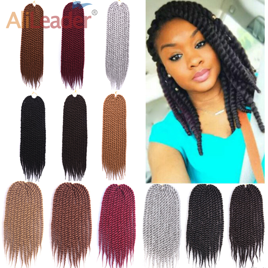 "Alileader 12"" 18"" 22""havana Mambo Twist Crochet Braid Silver Gray Synthetic Hair Extensions Crochet Twist Braids 12 Root/Pack"