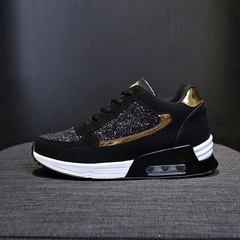 2109 novo design de moda feminina lantejoulas sapatos femininos almofada de ar tênis ao ar livre lazer aumentar