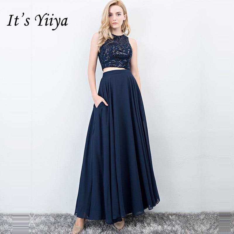 It's Yiiya Evening Dress O-Neck A-Line Sequine Plus Size Sleeveless Women Party Dresses Formal Floor-Length Robe De Soiree E881