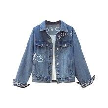 Модная Новая Осенняя джинсовая куртка с вышивкой в западном