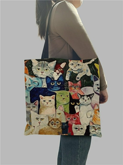 Design Cute Kawaii Cartoon Anime Cat Print Linen Tote Bag Women Fashion Handbags School Travel Shopping Shoulder Bags Reusable 3