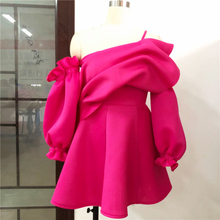 Pleated Puff Sleeve One Shoulder Backless party dress NA01