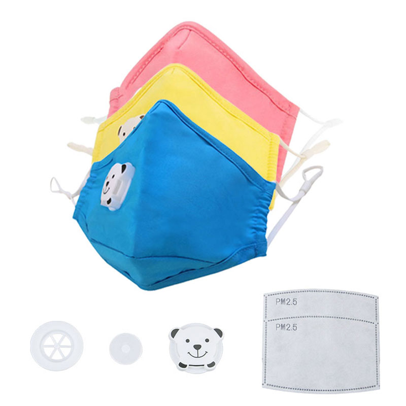 Child Kids Cotton Anti-pollution Mouth Masks Cute Colorful Cartoon PM2.5 5 Layer Filter Respirator With Breath Valve Sports Mask