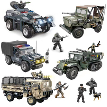 SWAT Bricks Building-Blocks Armored Vehicle Cargo-Truck Military-Series Willys-Jeep Children Toys