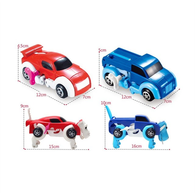 14CM cool Automatic transform Dog Car Vehicle Clockwork Wind up toy for all children birthday gift