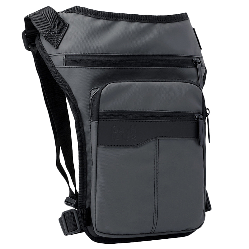 Motorcycle Hip Belt Waist Fanny Pack Riding Travel Shoulder Messenger Cross Body Bags Oxford Cloth Men Thigh Drop Leg Bag Gray