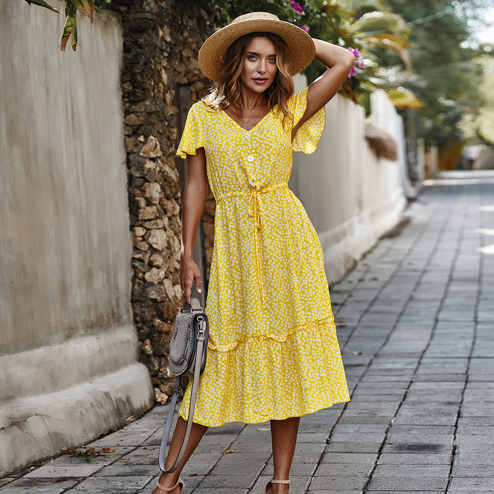 Cotton Summer Fashion Dress Yellow Navy Red Ruffled Short Sleeves Beach Party Semi Formal Evening Dresses