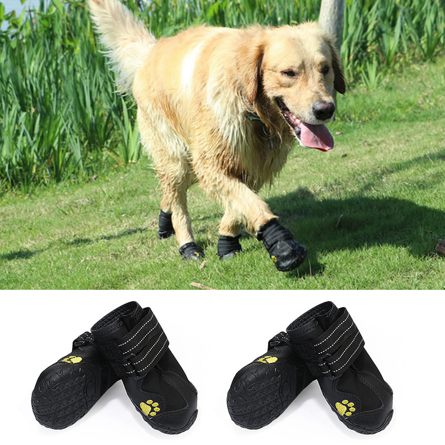 5# Set of 4 Waterproof Non-Slip Dog Shoes with Wear-resistant and Rugged Anti-Slip Sole for Medium and Large Dogs Black Protective Dog Boots