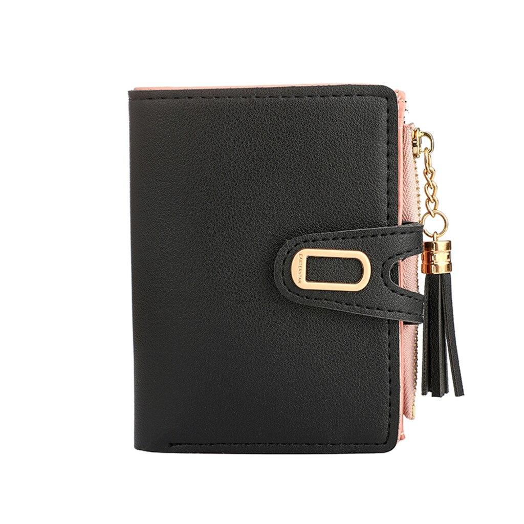 Wallets Purse Card-Holder Tassel Multi-Function Female Fashion Solid Cover Carteira-Feminina