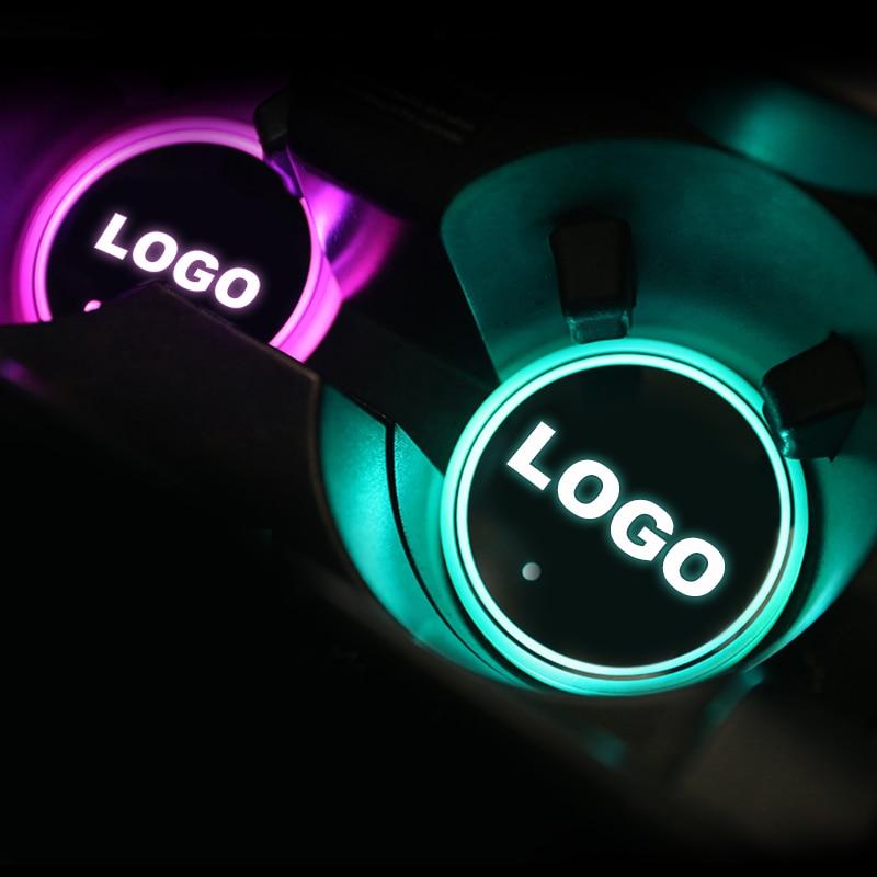 2x LED Light Car Logo Cup Mat For Suzuki Maserati Porsche Lexus Land Rover Subaru MG Cadillac Luminous Coaster Holder