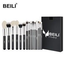 BEILI Black 15 шт. Профессиональный набор кистей для макияжа козья шерсть синтетическая подводка для глаз Пудра основа румяна, Контурирование кисть для теней для век