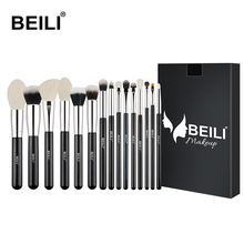 BEILI Black 15pcs Professional Makeup brushes set goat hair Synthetic eyeliner Powder Foundation blush contour eye shadow brush