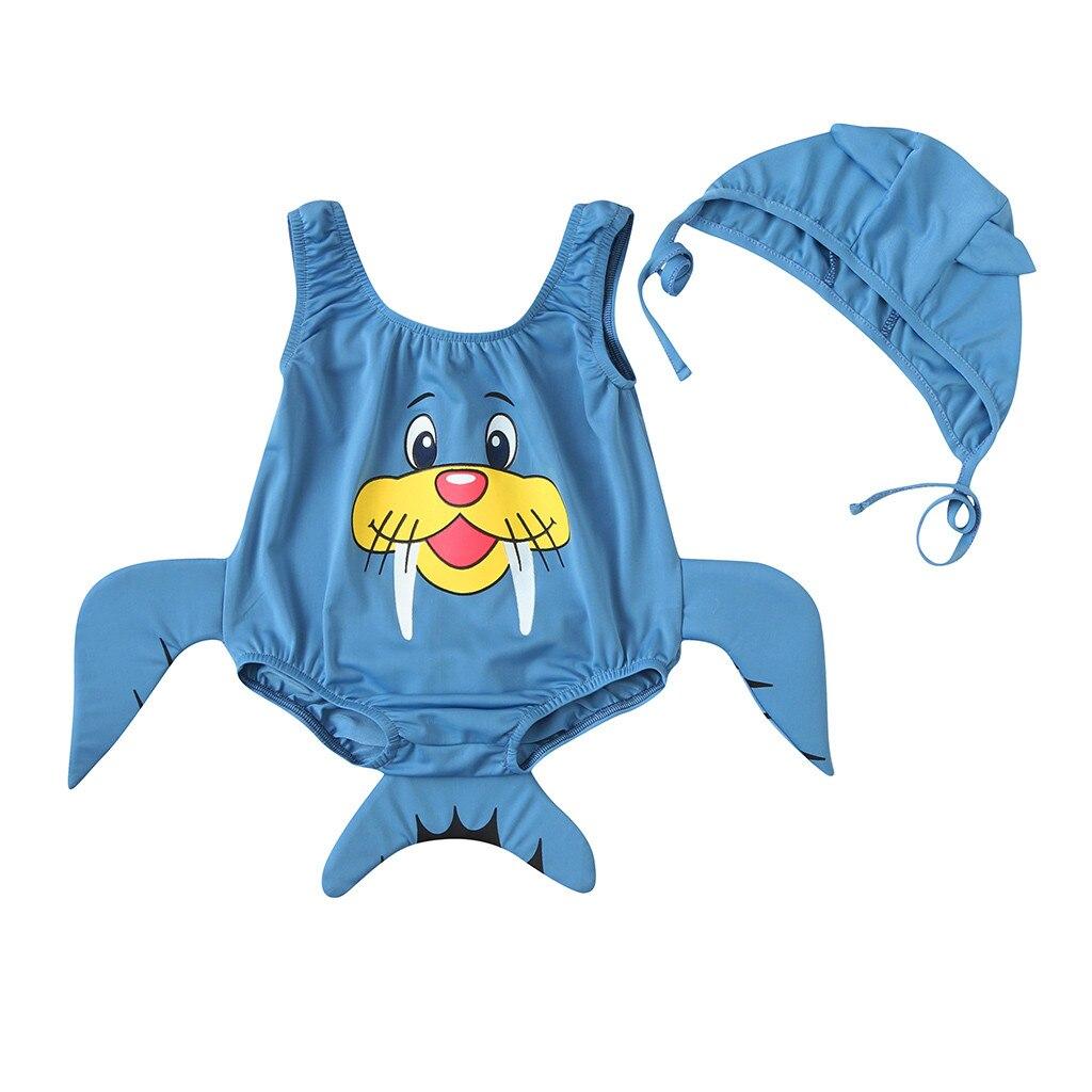 Cartoon Fish Design Girls Boys Kids Swim Swimming Bathing Wear Cap Blue