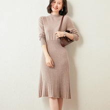 Women Dress Hot-Sale Knitting-Dresses Winter New-Fashion Cashmere Top-Grade Goat Oneck