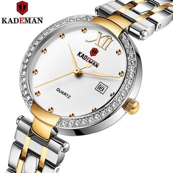 Kademan 2020 vestido de ouro relógio feminino cristal diamante relógios de pulso adies aço inoxidável prata relógio feminino montre femme