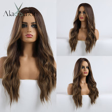 ALAN EATON Ombre Dark Brown Blonde Long Wavy Hairstyle Wigs for Women Natural Wave Synthetic Hair High Temperature Fiber Cosplay
