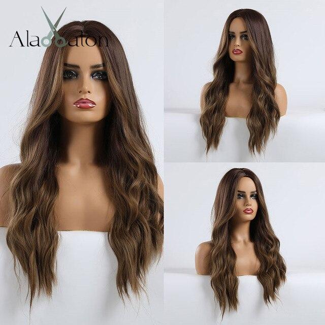 אלן איטון Ombre כהה חום בלונדיני ארוך גלי תסרוקת פאות עבור נשים טבעי גל סינטטי שיער סיבי טמפרטורה גבוהה קוספליי