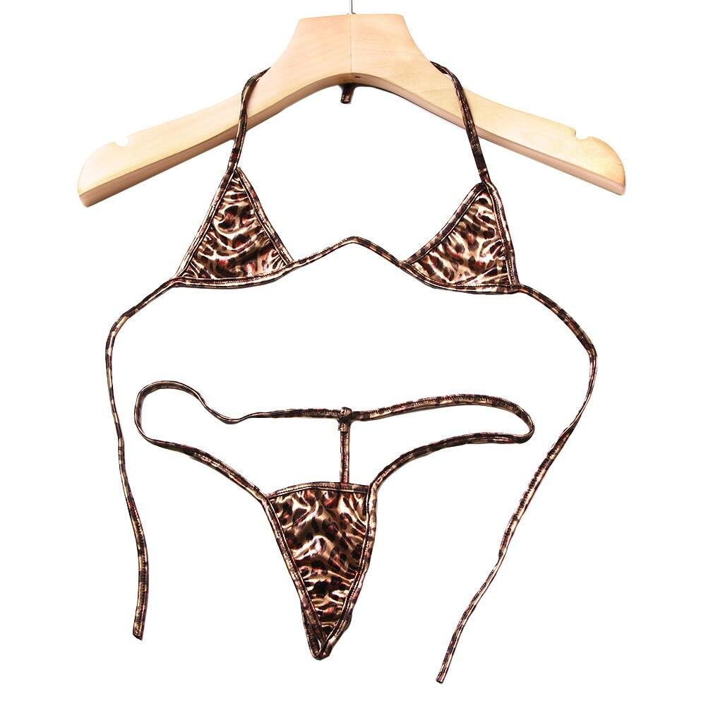Sexy PU Leather Leopard Bra Set Exotic Three Point Lingerie Women Bra+G-string Thong Bikini Set Babydoll Underwear With G-string