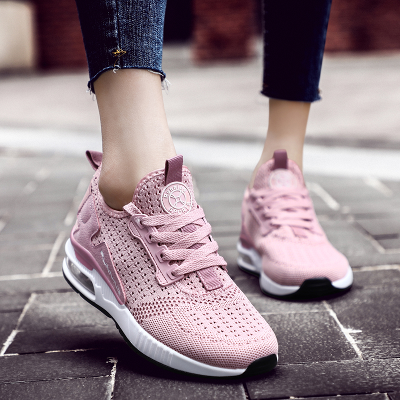 Running Shoes For <font><b>Women</b></font> Flat <font><b>Air</b></font> Cushion Mesh Breathable Wear-resistant Fitness Trainer Outdoor Sport Shoes Men Ultra Sneakers image