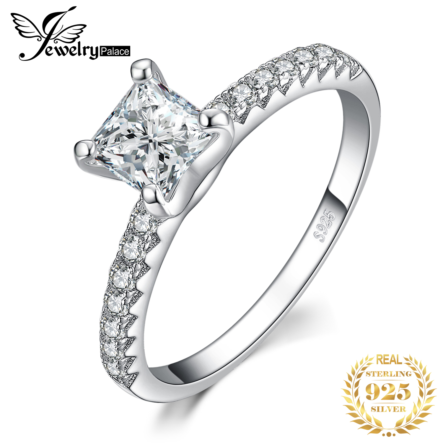 JPalace 1.6ct Princess Cut Engagement Ring 925 Sterling Silver Rings For Women Anniversary Ring Wedding Rings Silver 925 Jewelry