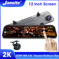Jansite 12 inch 2K 1440P Rear View Mirror Dash Cam Stream Media Car Driving Recorder Dual Lens Parking Monitor Loop Recording