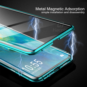 Image 4 - Hacrin Case For Huawei P40 Lite Case Magnetic Adsorption Metal Tempered Glass Bumper Case For Huawei P40 P 40 Lite Case Cover