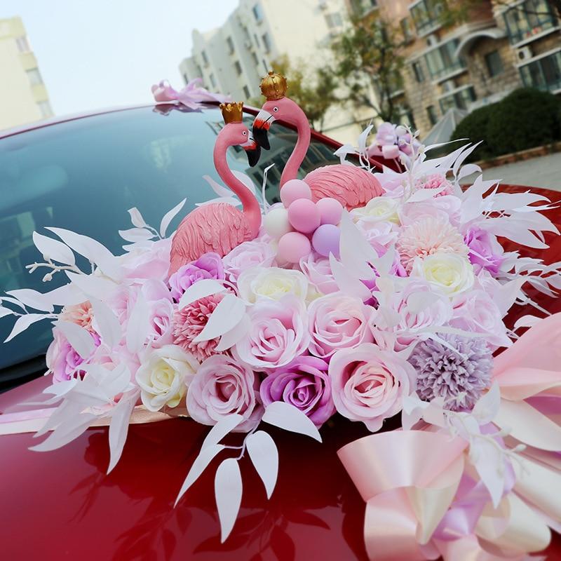 Wedding Artificial Flowers with Flamingo Led Light Car Decoration DIY Silk Flower Valentine's Day Set Wedding Wreath Party Decor - 2