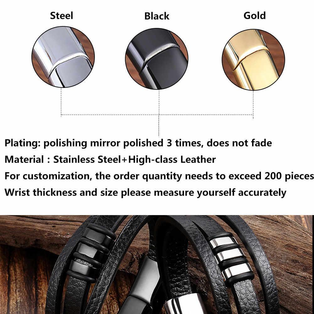 فاسق جديلة جلدية سوار الفولاذ سوار من الفولاذ للرجال مجوهرات حبل أسود سلسلة مزدوجة طبقة خرز من الفولاذ مجوهرات للجنسين