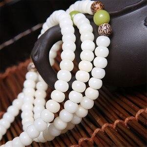 Image 4 - Original Design Natural White Bodhi Root Beads Bracelet Lotus 108 Lotus Mala Healing Prayer Bracelet for Women Jewelry Gift