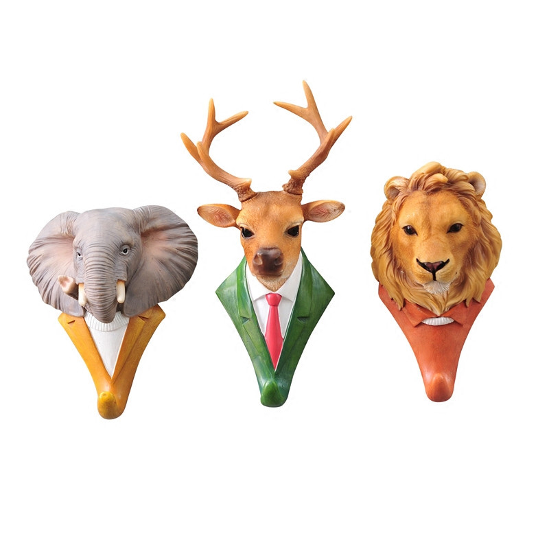 New Fashion Animal Decorative Hooks Deer Lion Eagle Gorilla Rhino Elephant Horse Creative Decoration Wall Hooks For Hanging