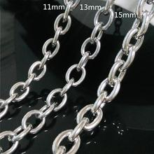 Customized Size 8-40 8/11/13/15mm Fashion Silver Womens Mens Stainless Steel Rolo Oval Link Chains Necklaces Jewellery