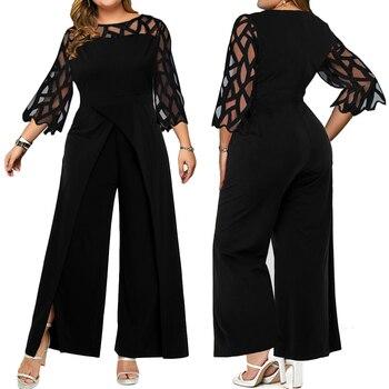 цена на Large Size Elegant Jumpsuit Women Lace Mesh Patchwork Hollow Out Overalls Solid Long Sleeve Wide Leg Playsuit Rompers D30
