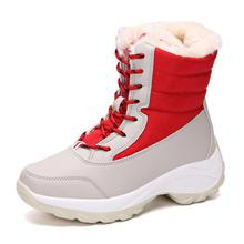 SKEHK Girls shoes Red Boots 2019 new style Kids snow boot winter warm fur antiskid outsole plus size 31 to 41 boots Boys hot