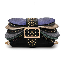 Bag female new European and American fashion trend rivet chain small square bag wild hit color shoulder messenger bag