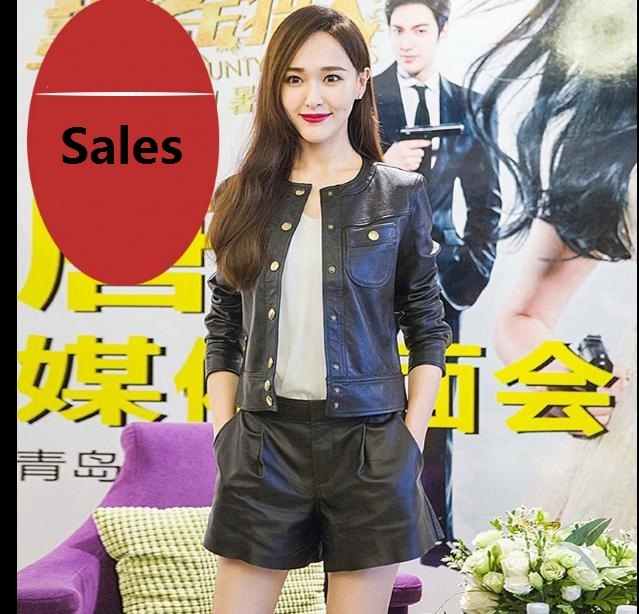 Free Shipping,Genuine Leather Women Shorts.fashion Sheepskin Black Short Pants,quality Female Sales Lady Sexy Cool