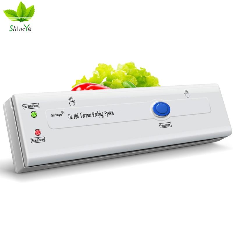 ShineYe DZ-320 220V/110V Household Vacuum Sealer Packaging Machine Keep Food Flesh Vacuum Packer Including 10pcs+1roll Bag