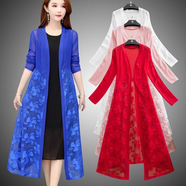 Women Cardigans Long Kimonos Summer Long Sleeve Sun-protection Lace Floral Long Coats Plus Size XL~4XL 5XL Casual Lady Cardigan 2