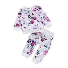 Rose Print Baby Girl Clothes Set Newborn Autumn Winter Cotton Keep Warm Long Sleeve Kids 0-2Year Pure White D30