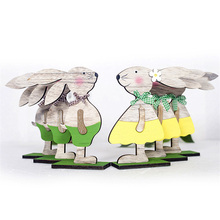 1pc New Happy Easter Decoration Wood Rabbit 3 Types With Egg Ribbon Stand DIY Ornament Gift